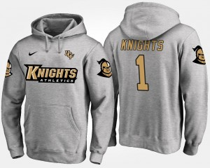 #1 No.1 Name and Number Knights Hoodie Gray Mens