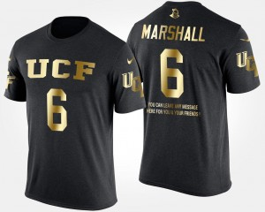 Short Sleeve With Message Mens #6 Brandon Marshall UCF Knights T-Shirt Black Gold Limited