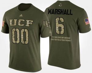 Men's Military Brandon Marshall Knights T-Shirt #6 Camo Short Sleeve With Message