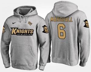#6 Name and Number Brandon Marshall UCF Knights Hoodie Mens Gray