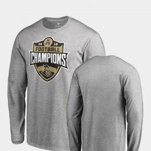 For Men's Long Sleeve Fanatics Branded 2018 AAC Football Champions Heather Gray Knights T-Shirt