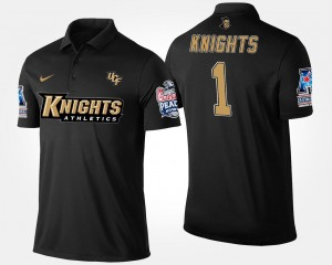 #1 Men UCF Knights Polo Bowl Game Navy No.1 American Athletic Conference Peach Bowl Name and Number