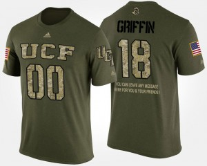 Short Sleeve With Message Shaquem Griffin UCF T-Shirt #18 Camo Military Mens