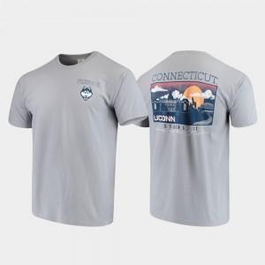 Gray Comfort Colors Campus Scenery UConn T-Shirt Men's