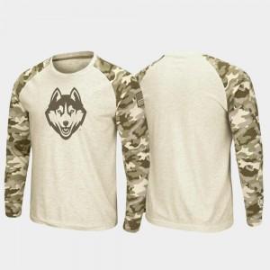 Oatmeal OHT Military Appreciation University of Connecticut T-Shirt Raglan Long Sleeve Desert Camo For Men's