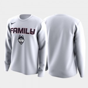 Family on Court Connecticut T-Shirt White For Men's March Madness Legend Basketball Long Sleeve