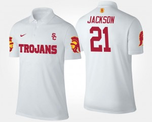 For Men's White Name and Number #21 Adoree' Jackson USC Polo