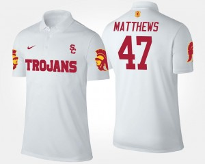 White Clay Matthews Trojans Polo #47 For Men's Name and Number