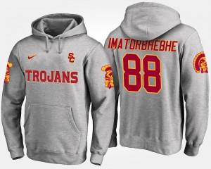 #88 Men's Gray Daniel Imatorbhebhe USC Trojans Hoodie Name and Number
