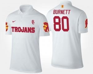 #80 White For Men's Name and Number Deontay Burnett Trojans Polo
