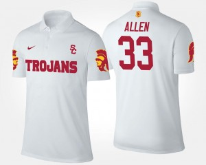 Marcus Allen USC Polo White #33 Mens Name and Number