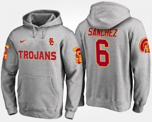 Mark Sanchez Trojans Hoodie Name and Number Gray For Men #6