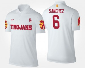 Mark Sanchez USC Polo White #6 Men Name and Number