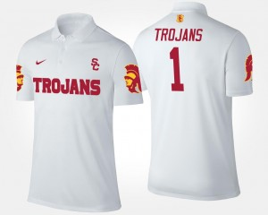 White #1 No.1 Short Sleeve Trojans Polo Name and Number For Men
