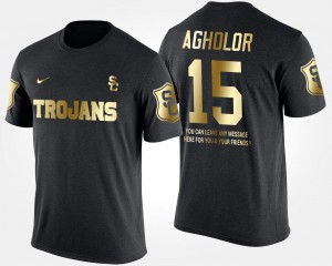 Nelson Agholor USC Trojans T-Shirt #15 Men Gold Limited Black Short Sleeve With Message