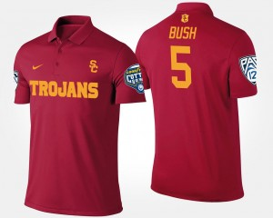 For Men's #5 Bowl Game Reggie Bush USC Trojans Polo Pac 12 Conference Cotton Bowl Name and Number Cardinal