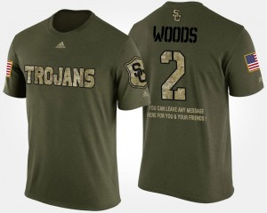 Military Robert Woods Trojans T-Shirt Camo Men's Short Sleeve With Message #2