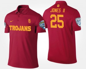 Pac 12 Conference Cotton Bowl Name and Number #25 Ronald Jones II Trojans Polo Bowl Game For Men's Cardinal