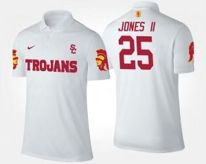 #25 Ronald Jones II Trojans Polo Mens White Name and Number