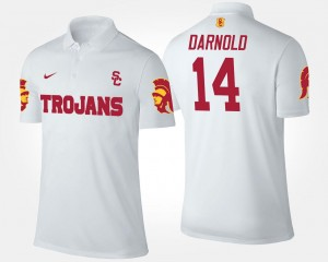 Sam Darnold USC Polo Mens #14 White Name and Number