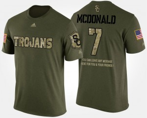 Short Sleeve With Message #7 For Men's Camo T.J. McDonald USC T-Shirt Military