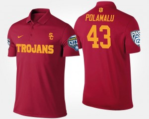 Bowl Game #43 Cardinal Troy Polamalu Trojans Polo Pac 12 Conference Cotton Bowl Name and Number Mens