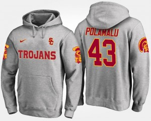 Gray Troy Polamalu USC Hoodie Name and Number Men's #43