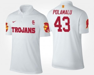 Name and Number Troy Polamalu USC Polo #43 White For Men's
