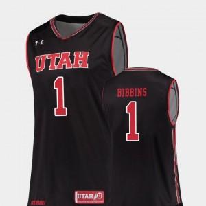 #1 College Basketball Black For Men's Replica Justin Bibbins University of Utah Jersey