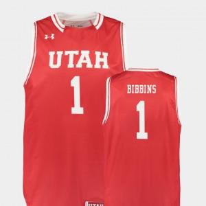 #1 Replica Justin Bibbins University of Utah Jersey College Basketball Red Mens