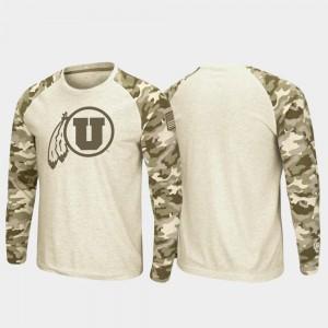 Oatmeal OHT Military Appreciation Raglan Long Sleeve Men University of Utah T-Shirt