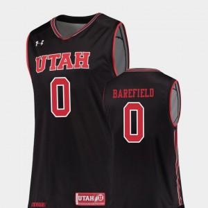 #0 Black Replica Mens Sedrick Barefield Utah Jersey College Basketball