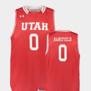 Mens Red #0 Replica College Basketball Sedrick Barefield Utah Jersey