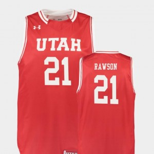College Basketball For Men Tyler Rawson Utes Jersey Red #21 Replica