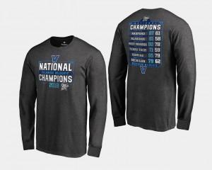 Heather Gray For Men's 2018 Dropstep Long Sleeve Basketball National Champions Villanova T-Shirt