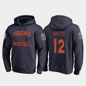 Navy In Bounds Fanatics Branded College Basketball Mens #12 De'Andre Hunter Cavaliers Hoodie