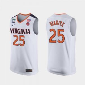 #25 White Mamadi Diakite Virginia Jersey 2019 Final-Four Mens