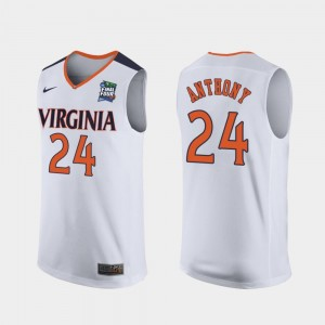 #24 Marco Anthony UVA Jersey For Men's 2019 Final-Four White Replica