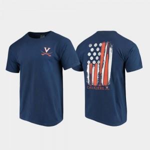 Navy For Men Comfort Colors Virginia T-Shirt Baseball Flag