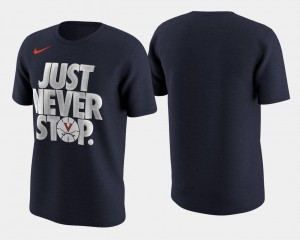 Basketball Tournament Just Never Stop UVA Cavaliers T-Shirt March Madness Selection Sunday Mens Navy