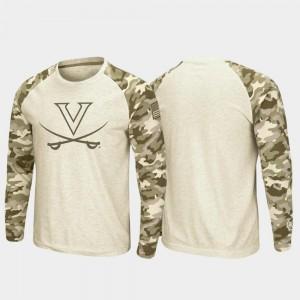 Virginia T-Shirt Raglan Long Sleeve Desert Camo Men Oatmeal OHT Military Appreciation