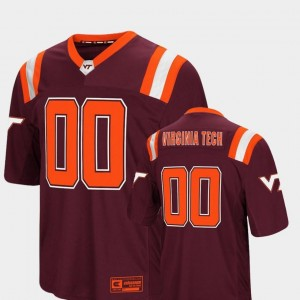 Foos-Ball Football Colosseum Authentic Maroon Hokies Jersey For Men's #00