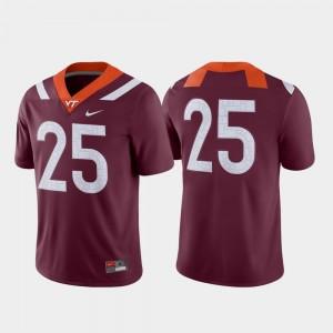 Maroon Game VT Hokies Jersey College Football Nike #25 For Men