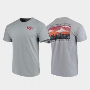 Gray Mens Campus Scenery Comfort Colors Virginia Tech Hokies T-Shirt