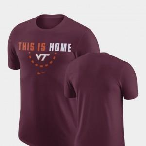 Maroon Basketball Team Nike Virginia Tech Hokies T-Shirt Men