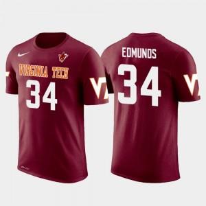 Crimson Pittsburgh Steelers Football Future Stars #34 Terrell Edmunds Virginia Tech Hokies T-Shirt Men