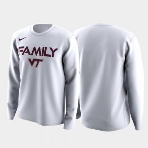 Men Virginia Tech Hokies T-Shirt White Family on Court March Madness Legend Basketball Long Sleeve