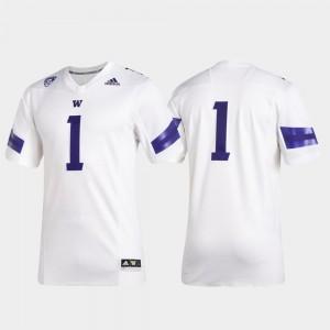 White Premier Washington Jersey Men's College Football Adidas #1
