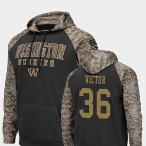 United We Stand Azeem Victor Washington Huskies Hoodie Men Colosseum Football #36 Charcoal
