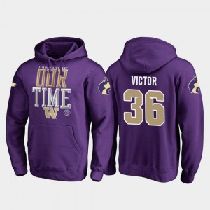 Purple 2019 Rose Bowl Bound Fanatics Branded Counter #36 Men's Azeem Victor UW Hoodie